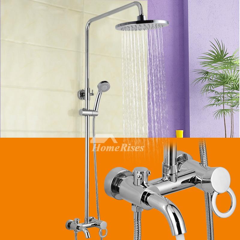 Wall Mount Silver Chrome Rain Shower Faucet Set Sidespray