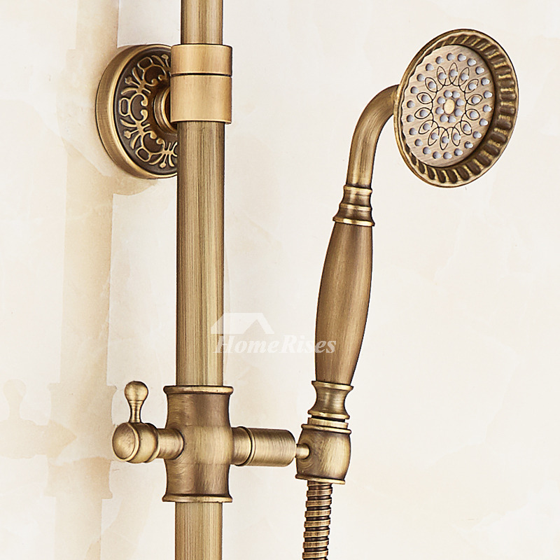 Shower Faucet Handles Cross Carved Gold Antique Brass Wall