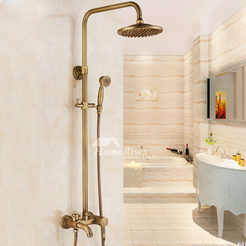 Gold shower faucet antique brass bathroom carved wall mount vintage Antique brass faucet bathroom