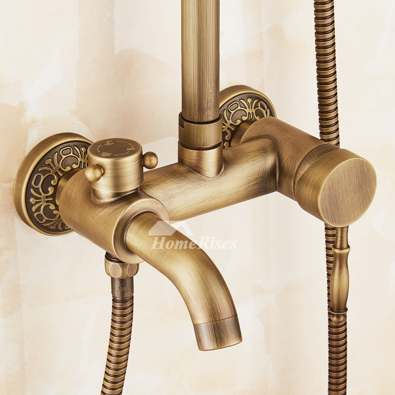 Gold Shower Faucet Antique Brass Bathroom Carved Wall