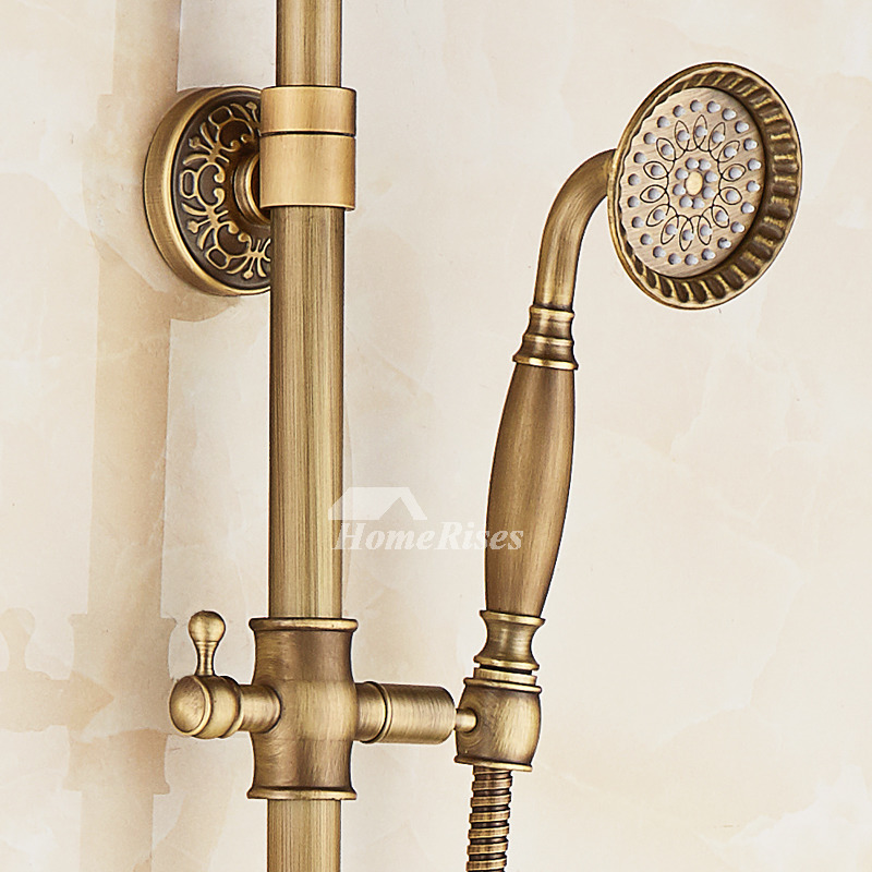 Rain Shower System Antique Brass Carved Wall Mount Gold