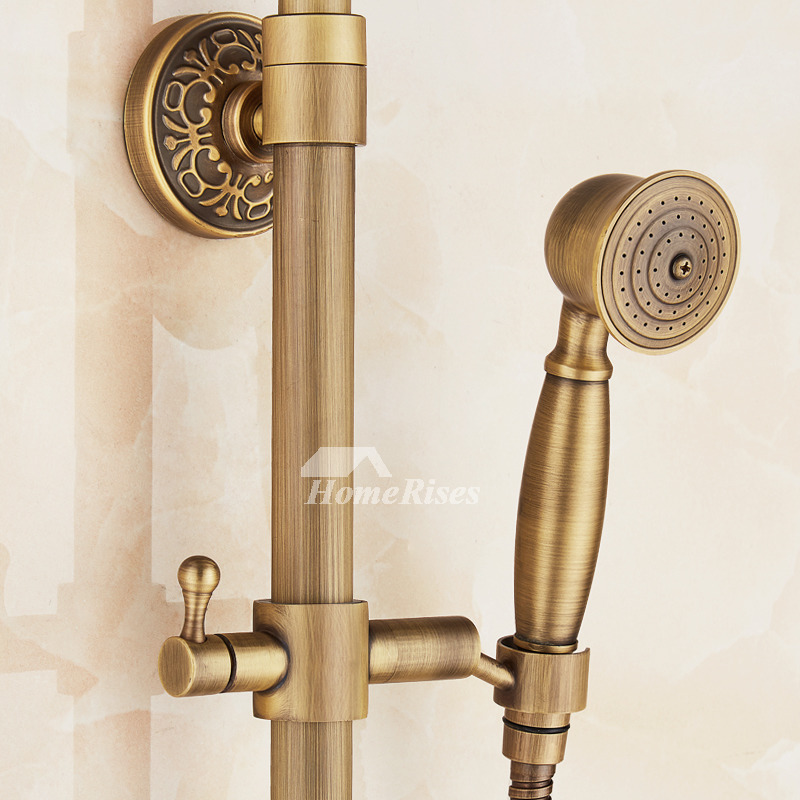 Gold Shower Faucet Carved Single Handle Antique Brass Wall