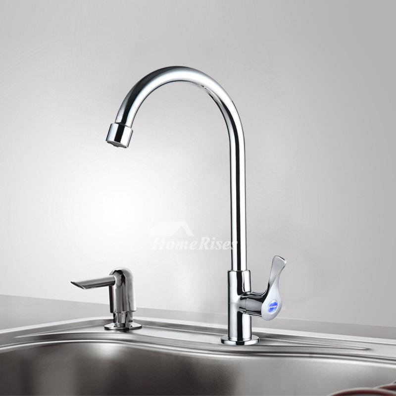 Gooseneck Kitchen Faucet Silver Chrome Contemporary Cool Brass