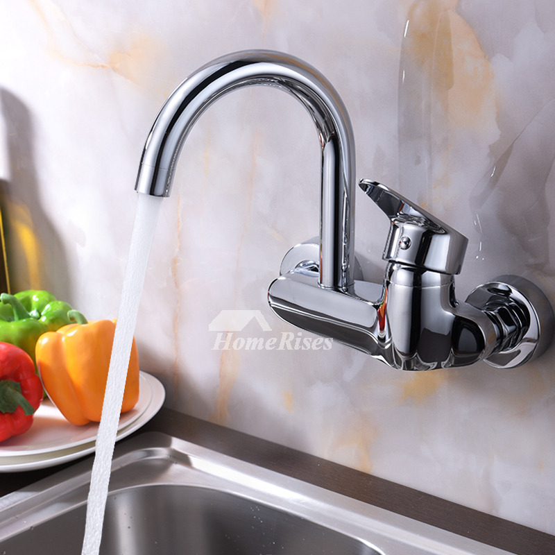 Professional Kitchen Faucets: Professional Kitchen Faucet Wall Mount Chrome Brass Single
