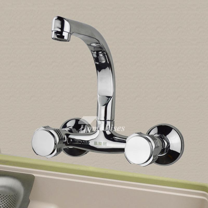 Wall Mount Kitchen Faucet 2 Handle Chrome Silver Modern Cheap