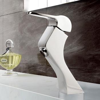 Chrome Bathroom Faucet Silver Brass Vessel Single Handle Design