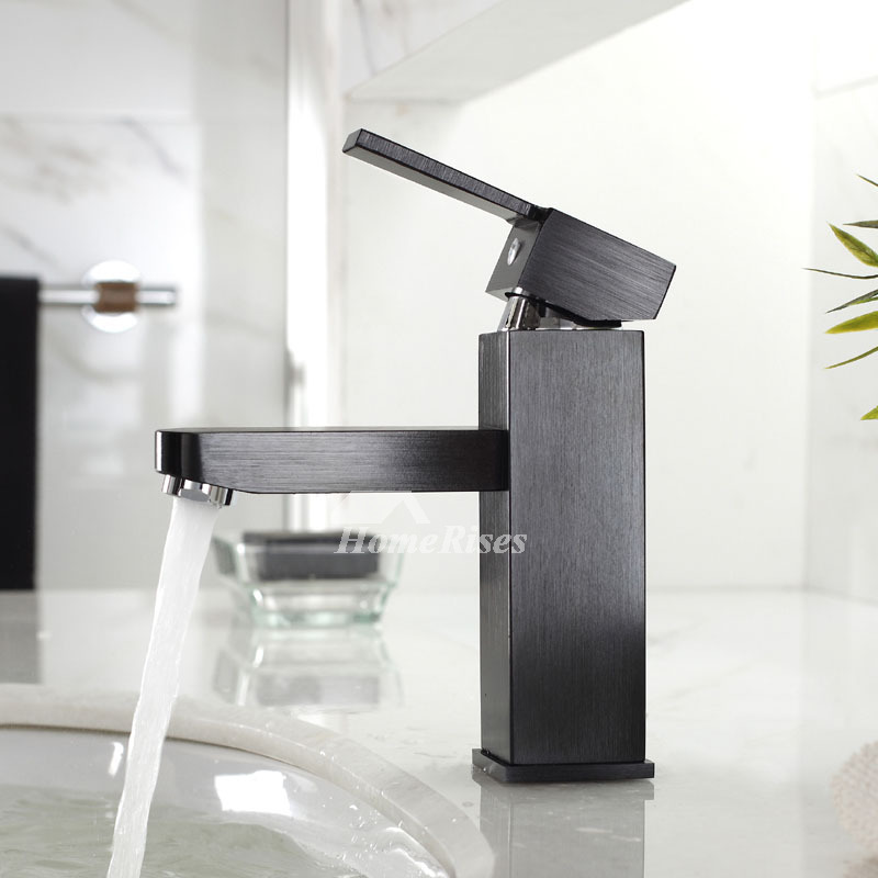 Unique Bathroom Faucets Black Brushed Single Handle Brass Cool