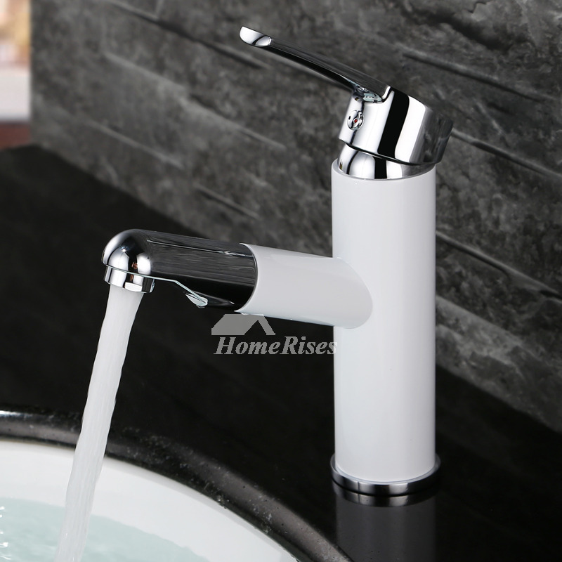 White Bathroom Faucets Modern Painting Single Handle Pull
