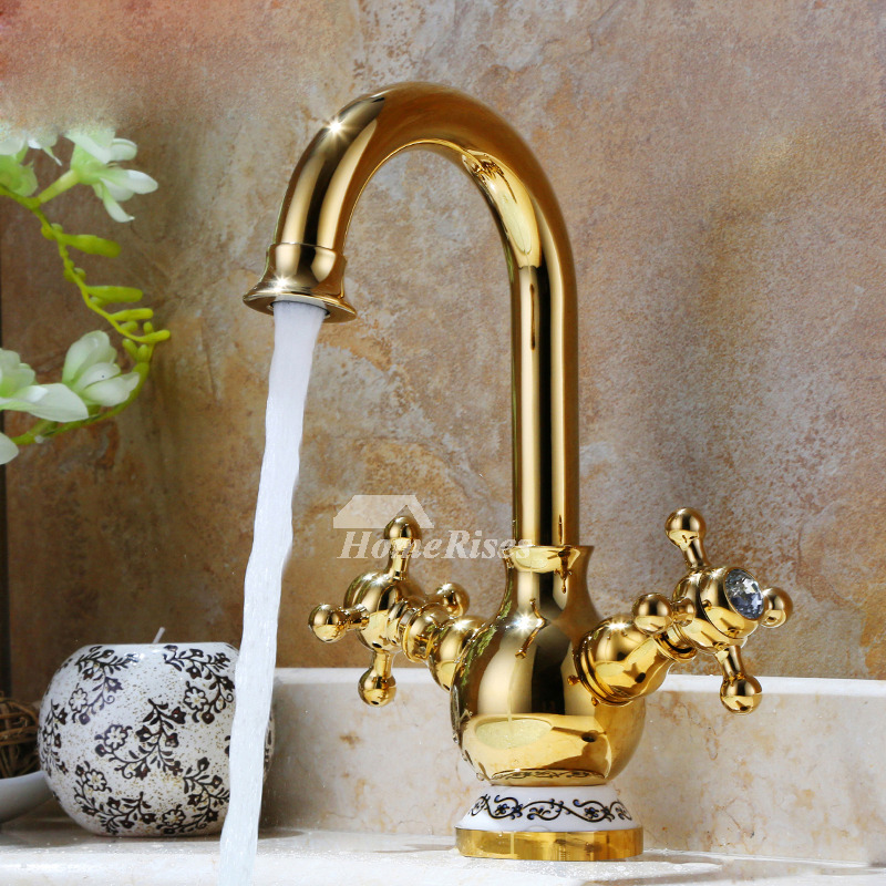 Cross handle bathroom faucet polished brass gold centerset 1 hole for Polished gold bathroom faucets
