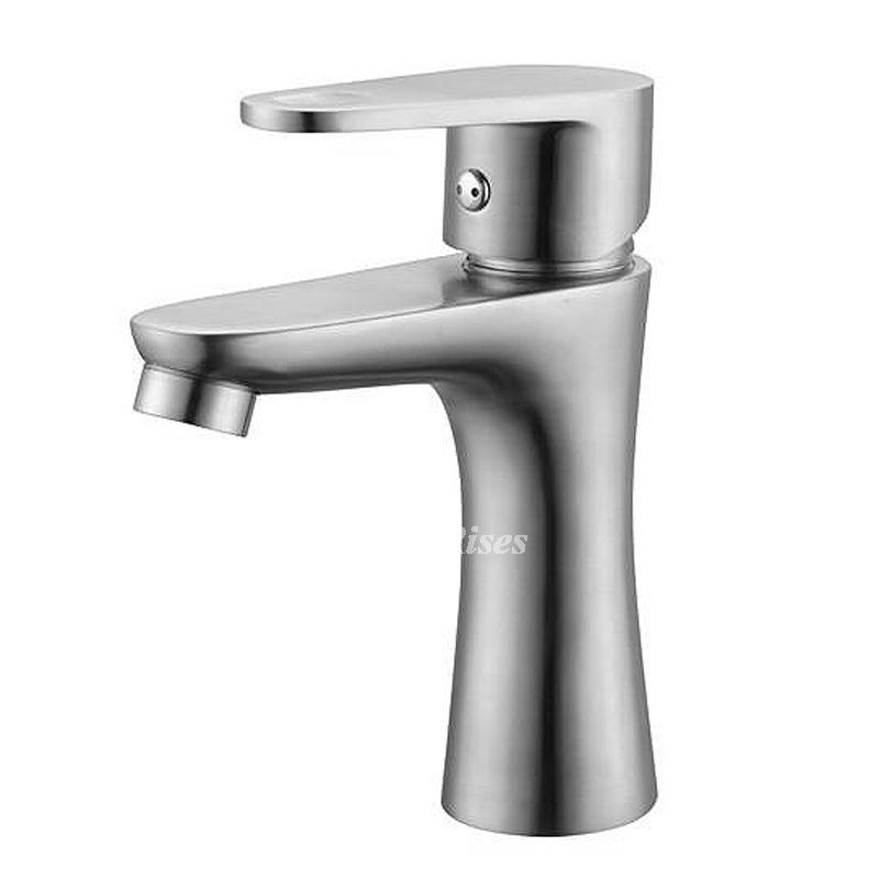 Brushed Nickel Bathroom Faucet Single Handle Stainless Steel Silver