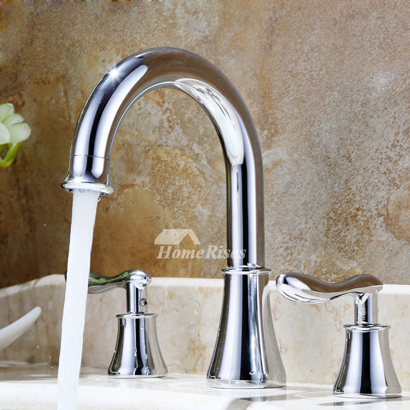 Widespread Bathroom Faucet 2 Handle 3 Hole Silver Brass Rotatable 8 Inch