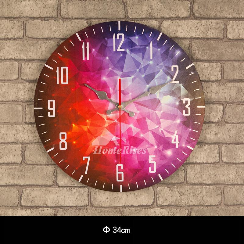 Decorative Wall Clocks Kitchen Unique Wooden Round 135 Inch Silent