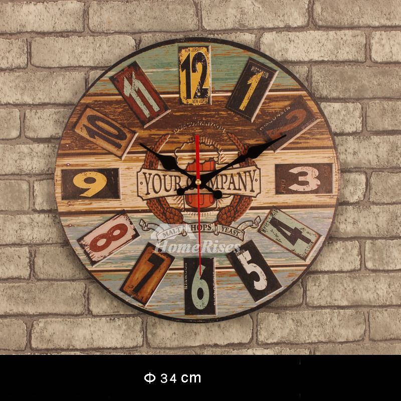 Decorative Wall Clocks Kitchen Unique Wooden Round 13 5