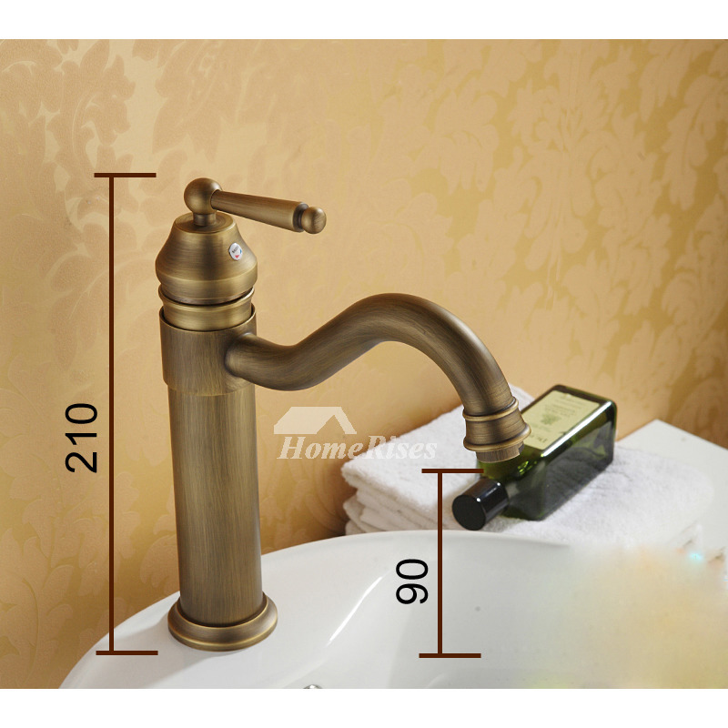 Antique Brass Bathroom Faucet Vessel Brushed Single Handle Rotatable - Brushed brass bathroom faucets