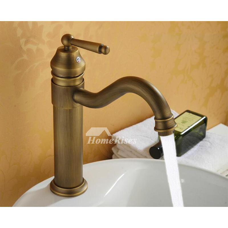 Antique Brass Bathroom Faucet Vessel Brushed Single Handle Rotatable