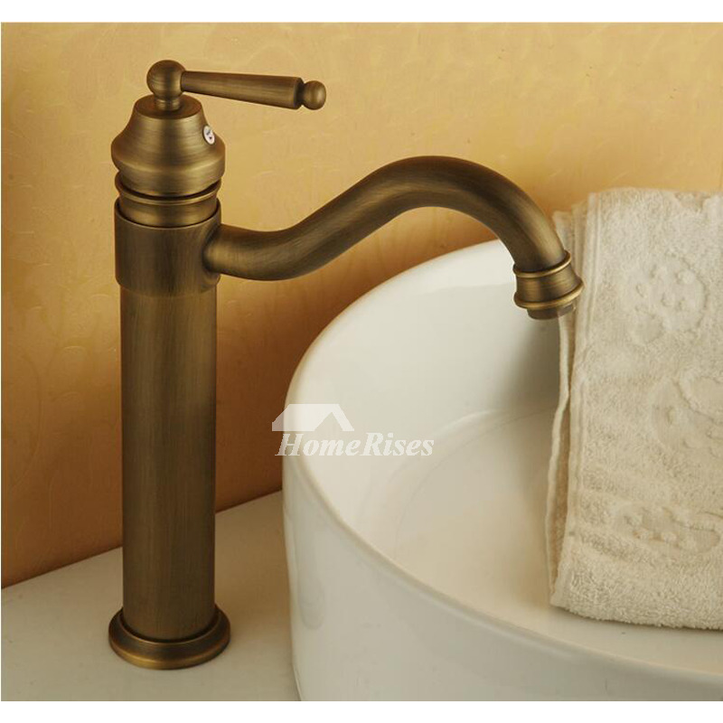 Antique Brass Bathroom Faucet Vessel Brushed Single Handle