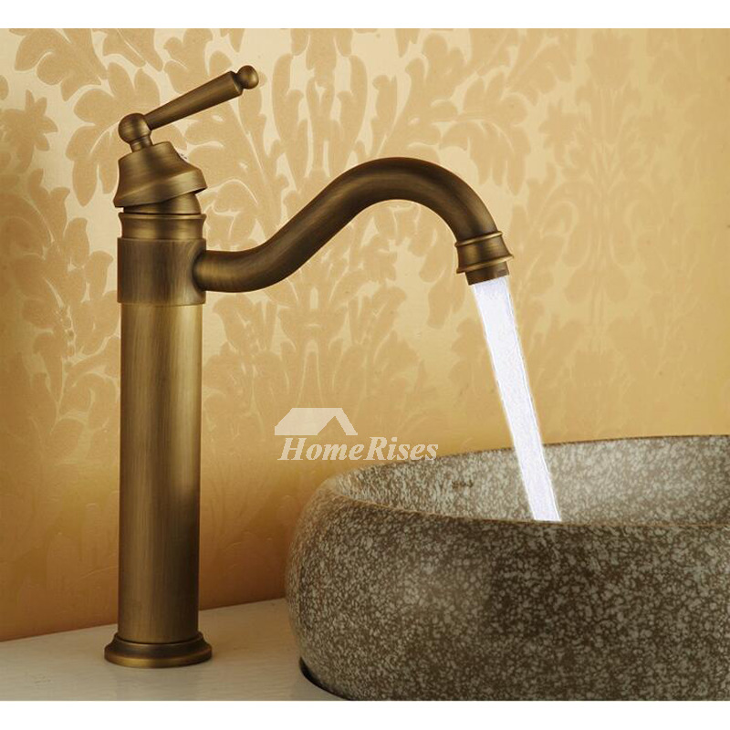 Antique Brass Bathroom Faucet Vessel Brushed Single Handle