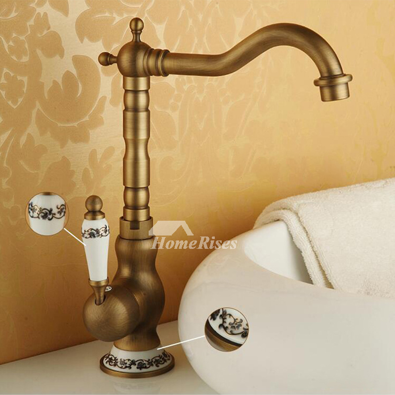 Gold Bathroom Faucet Brushed Antique Brass Rotatable Single Handle