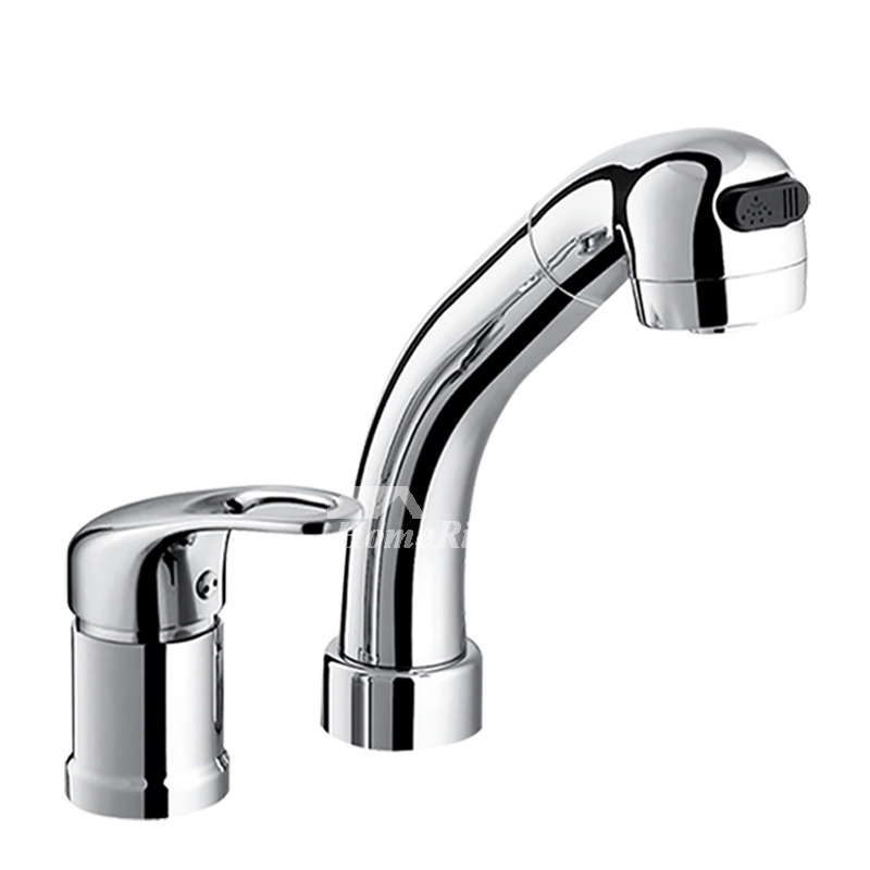 Out Bathroom Faucet Silver Chrome 2 Hole Brass Single Handle