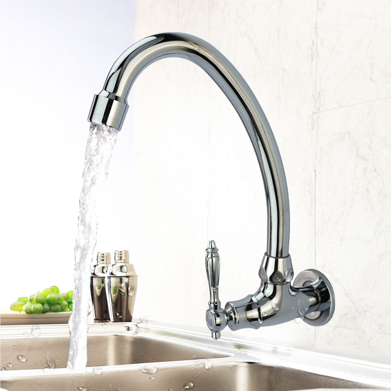 Wall Mount Kitchen Faucet Gooseneck Rotatable Single Handle Silver