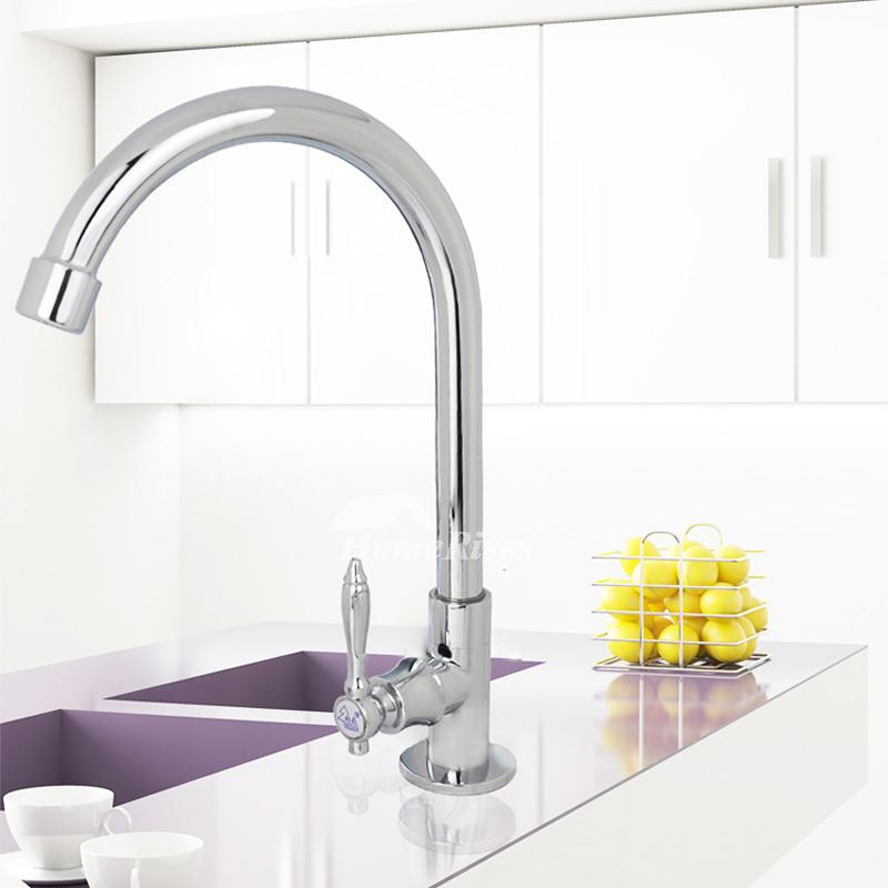 Hole Kitchen Faucet Gooseneck 1 Handle Brass Chrome Rotatable