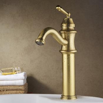 Gold Bathroom Faucet Vessel Single Handle Polished Br Vanity