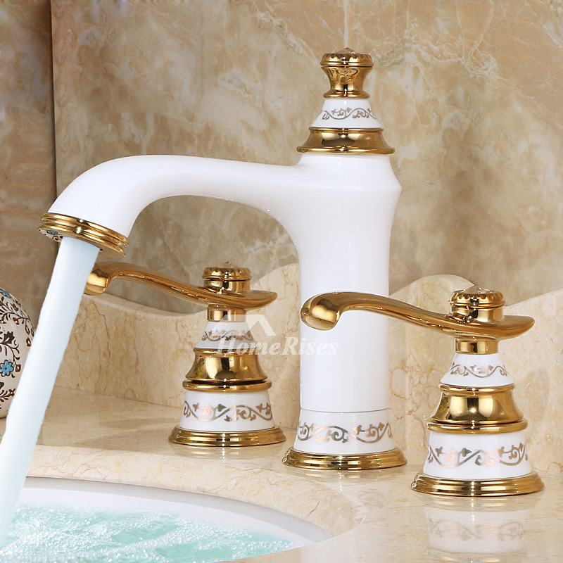 Two tone bathroom faucets polished brass ceramic 3 hole white - Kohler two tone bathroom faucets ...