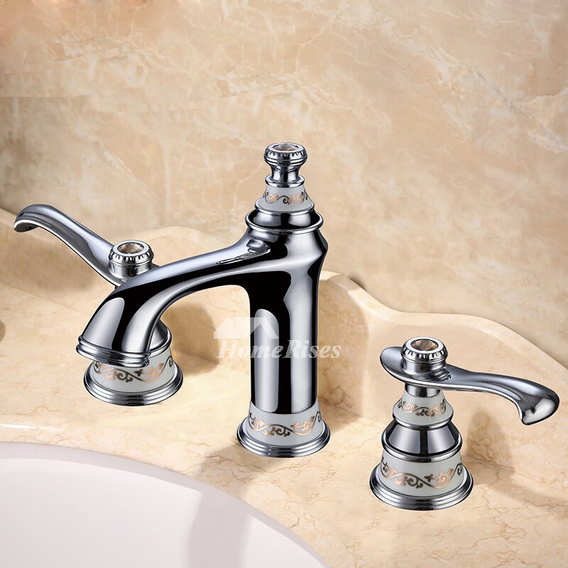 3 Hole Bathroom Faucet Silver Chrome Two Tone Brass Smooth