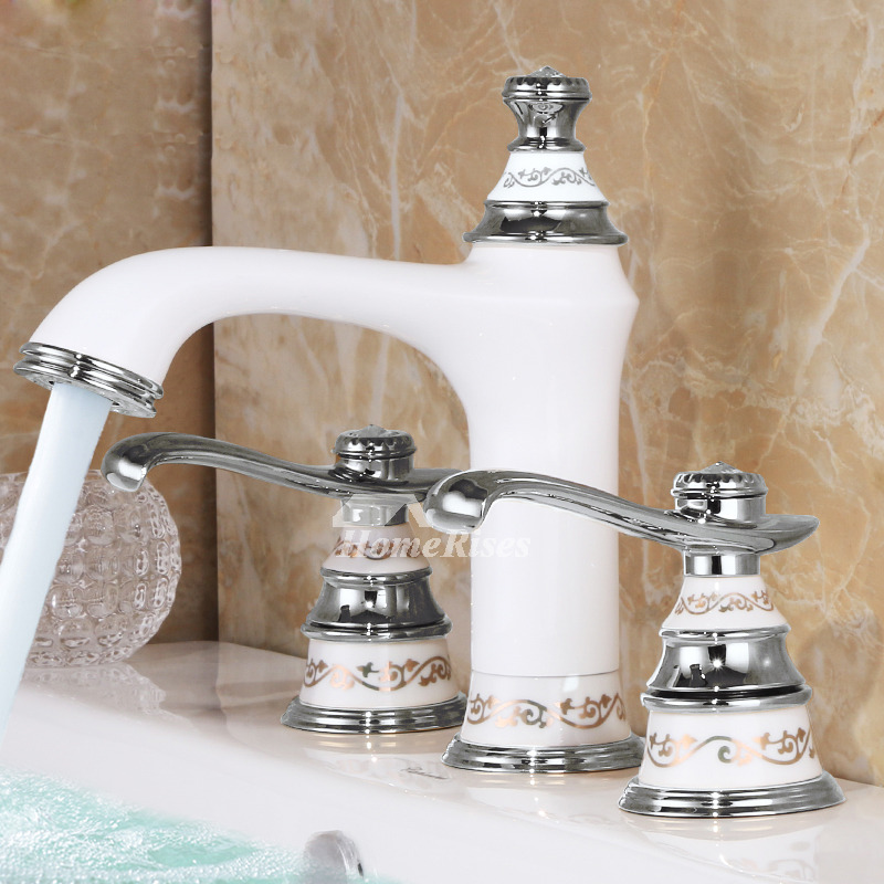 White Bathroom Faucets Two Tone 3 Hole Brass Ceramic Filtering Modern