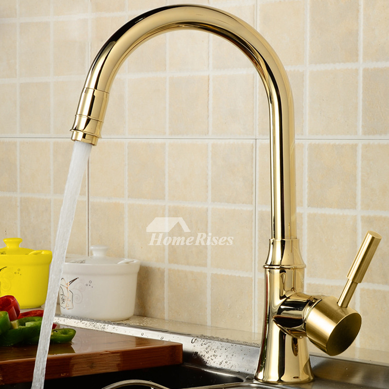 Kitchen Faucets On Sale Gooseneck Gold Polished Brass Single Handle
