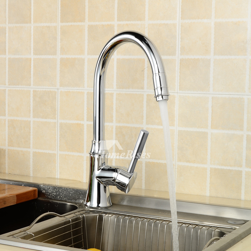 Top Rated Kitchen Faucets Silver Chrome Single Handle Gooseneck