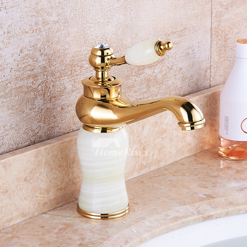 Best Bathroom Sink Faucets Polished Brass Marble Gold Single Handle