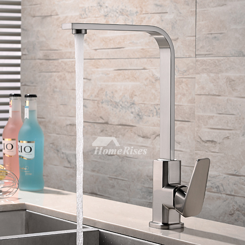 Brushed Brass Kitchen Faucet Silver Rotatable Single Hole Discount