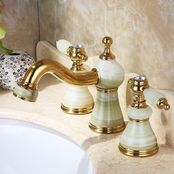 Two Tone Bathroom Faucets Widespread Vanity 3 Hole Gold