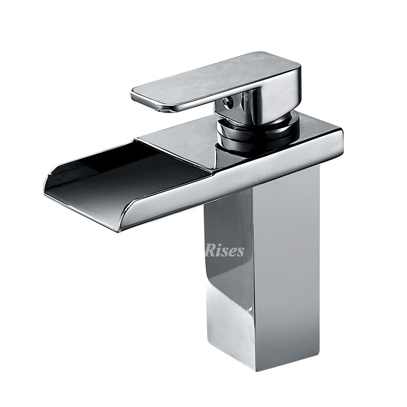 Led Waterfall Bathroom Sink Faucet Centerset Silver Chrome