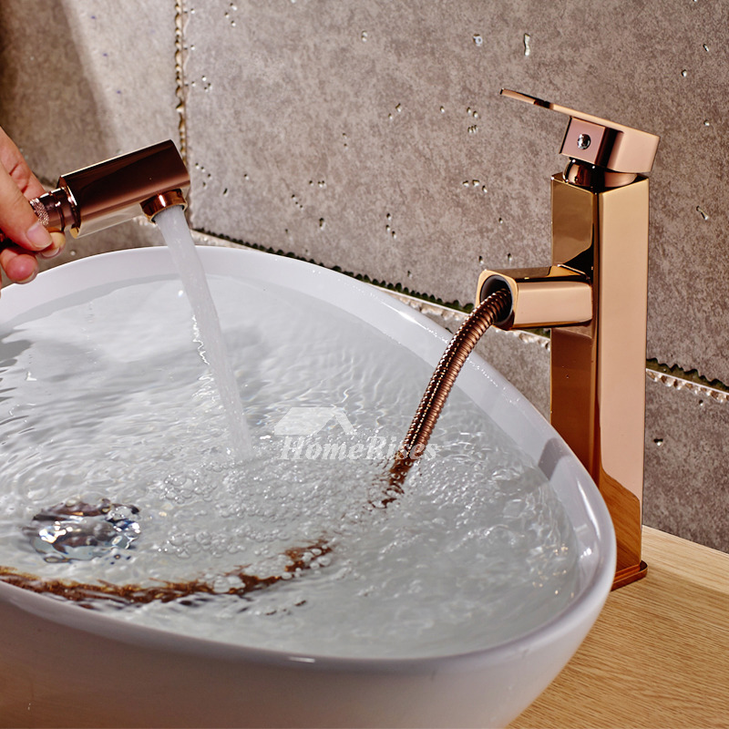 . Rose Gold Bathroom Faucet Pull Out Spray Single Handle Vessel Smooth