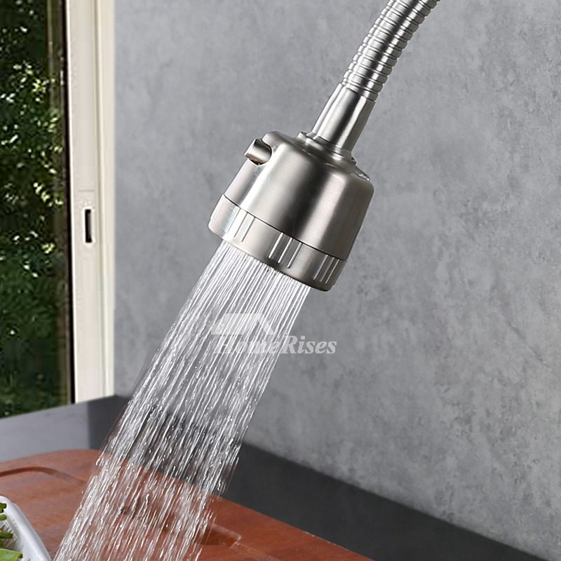 Pull Down Kitchen Faucet Brushed Stainless Steel Wall