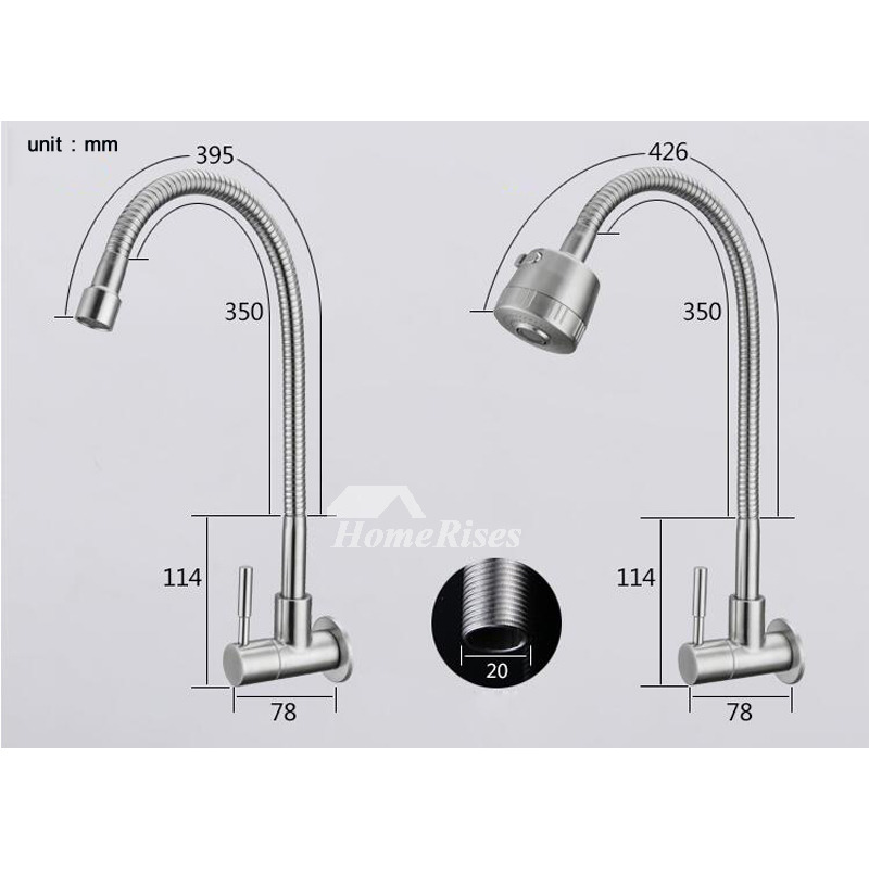 Farmhouse Kitchen Faucet Wall Mount Brushed Stainless Steel Silver