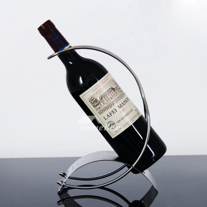 Designer Stainless Steel Silver Metal Wine Bottle Holder Decorative Beauteous Decorative Wine Bottle Holders