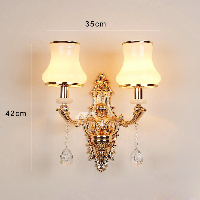 Crystal Wall Sconce Lighting Bathroom Art Deco 2 Light Metal Glass
