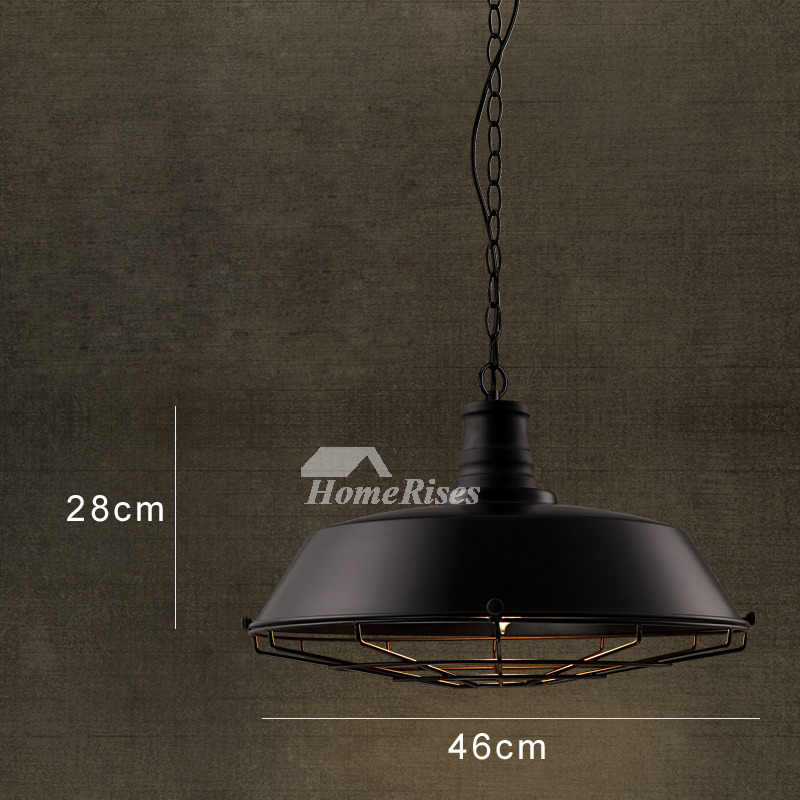 Pendant Light Fixtures Industrial Warehouse Wrought Iron Black Hanging