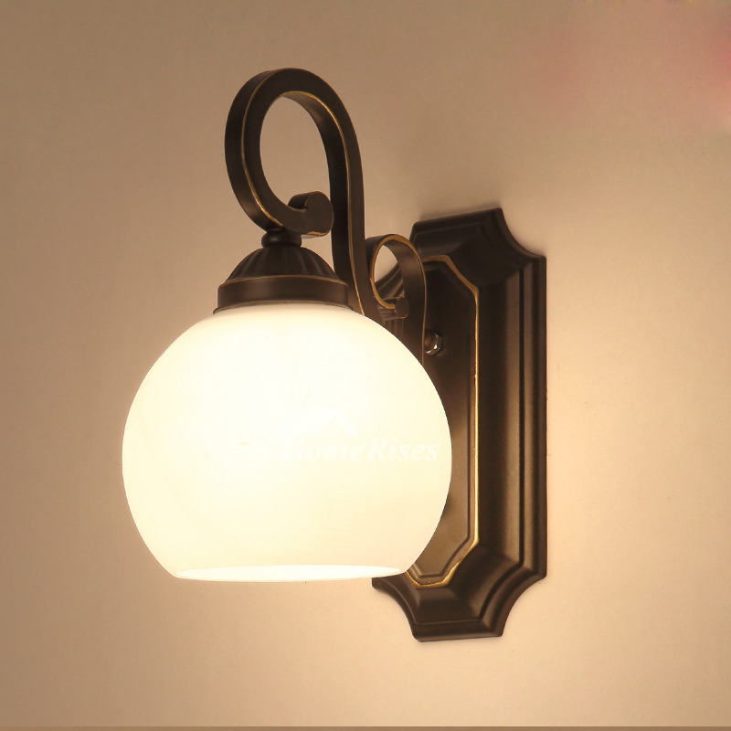Modern Wall Sconces Glass Wrought Iron Decorative Bathroom ...