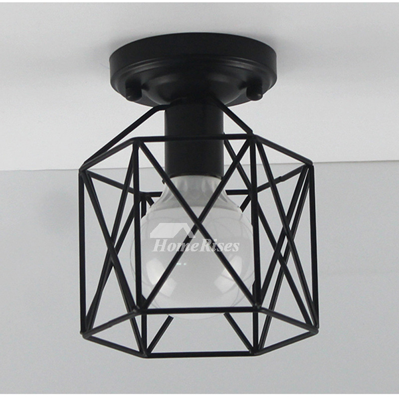 Small Ceiling Lights Entryway Wrought Iron Semi Flush Bathroom Black