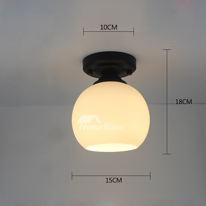 Semi Flush Ceiling Lights Glass Shade Bathroom Fixture Small Black/White