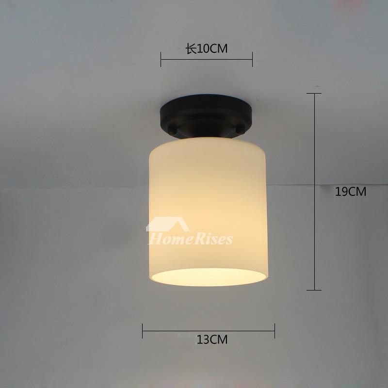 Semi Flush Ceiling Lights Glass Shade Bathroom Fixture Small Black White