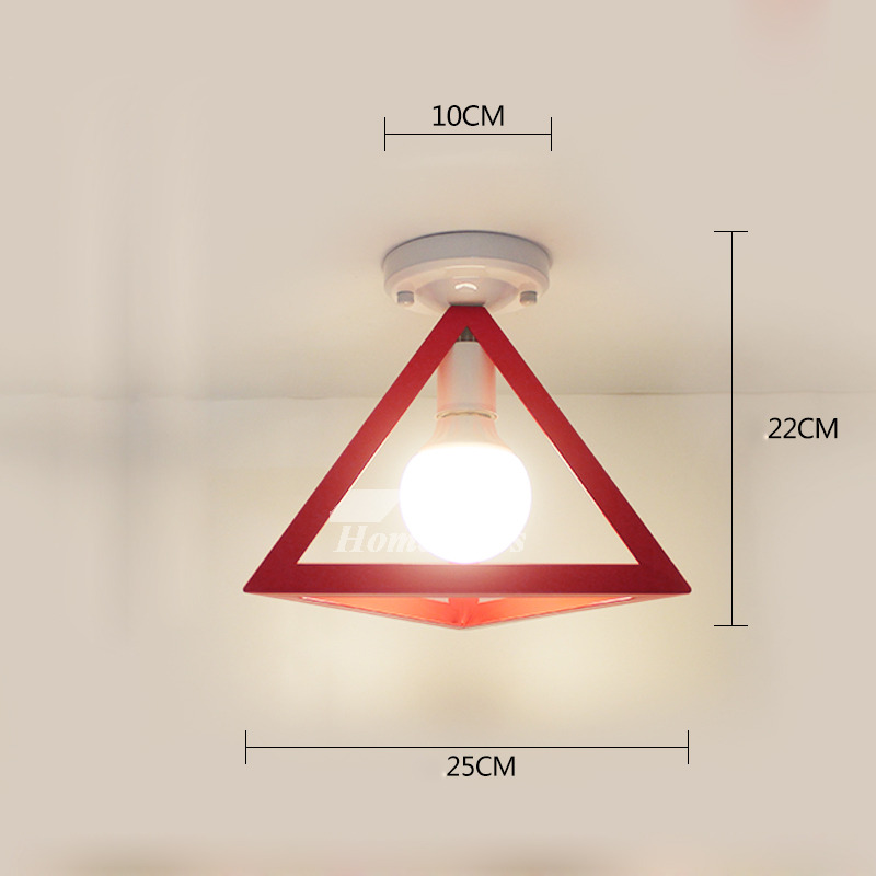 Bathroom Ceiling Light Square Triangle Small Wrought Iron Red