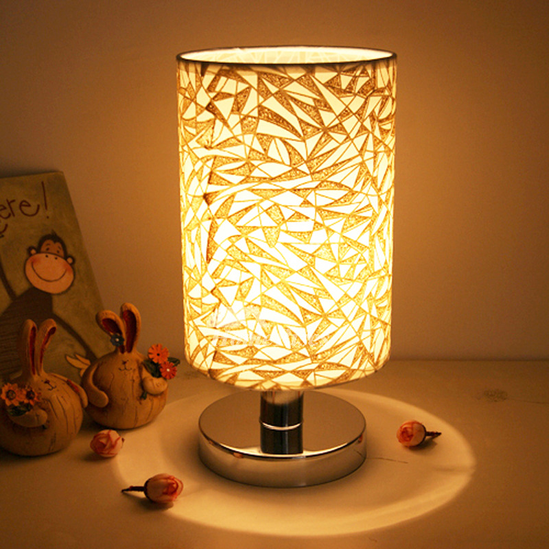Small Table Lamps Modern Living Room Fabric Shade E27