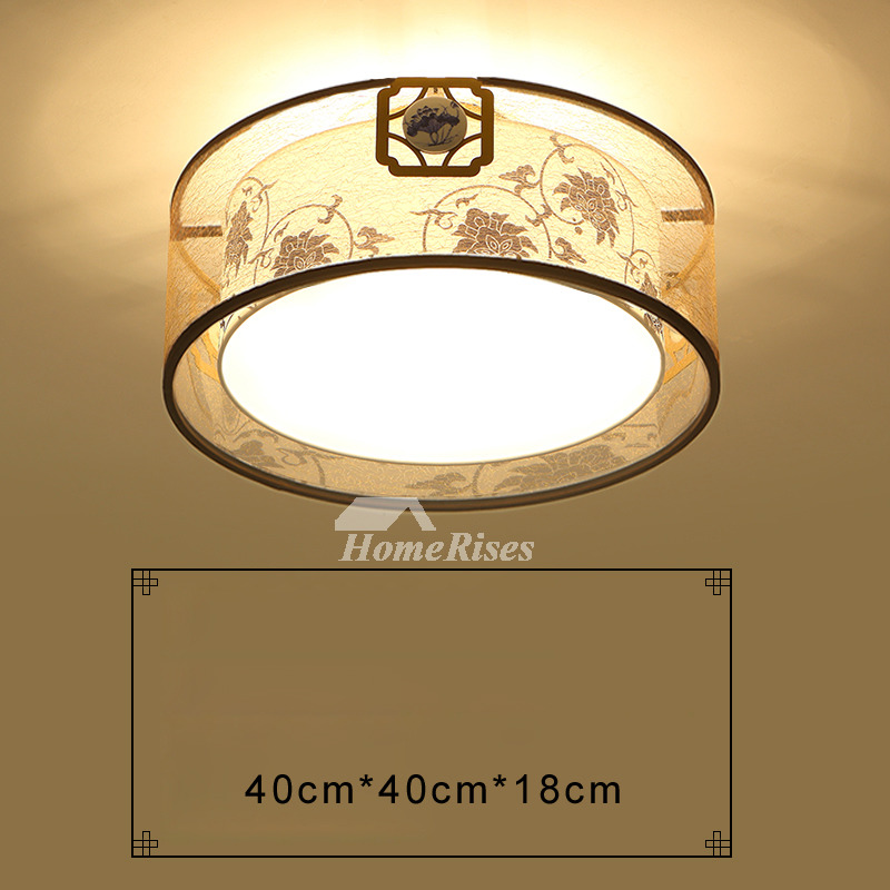 Flush Ceiling Lights Drum Fixture Wrought Iron Fabric Asian Living Room