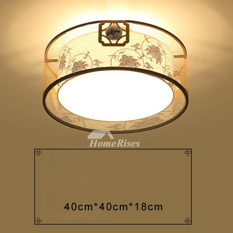 Flush ceiling lights drum fixture wrought iron fabric asian living room aloadofball Images