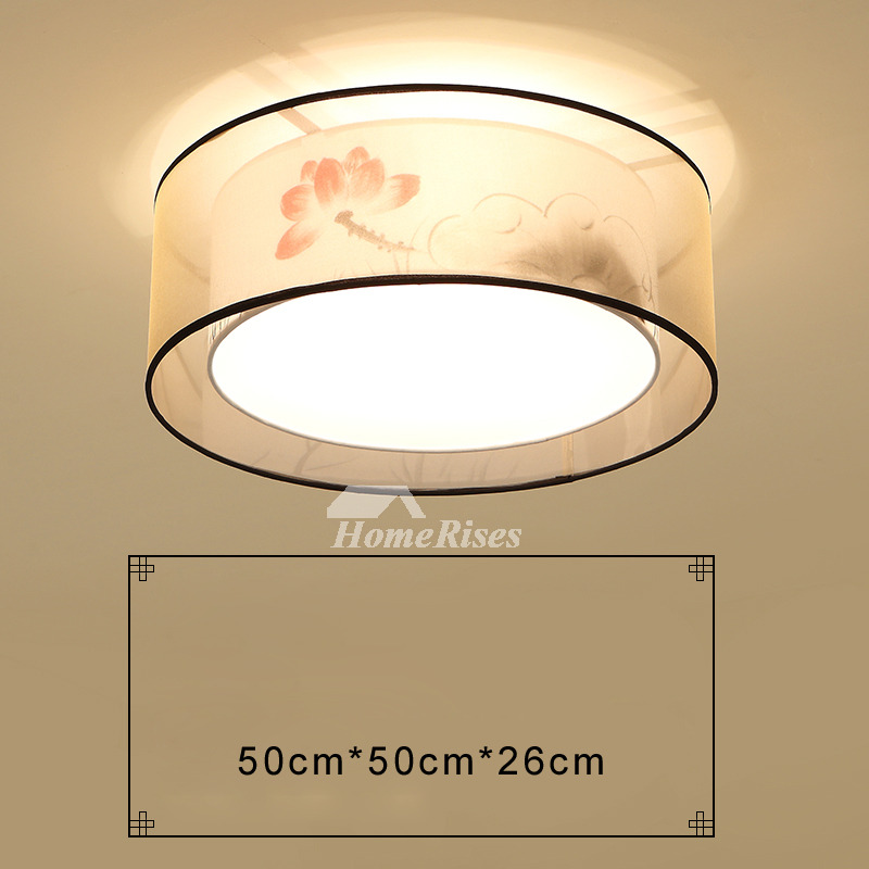 Living Room Ceiling Lights Drum Fabric Shade Square Flush Mount